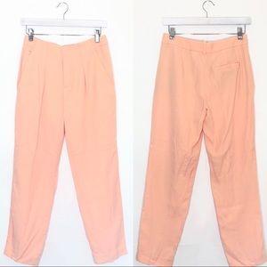 Zara Peachy Orange Lyocell Ankle Trousers